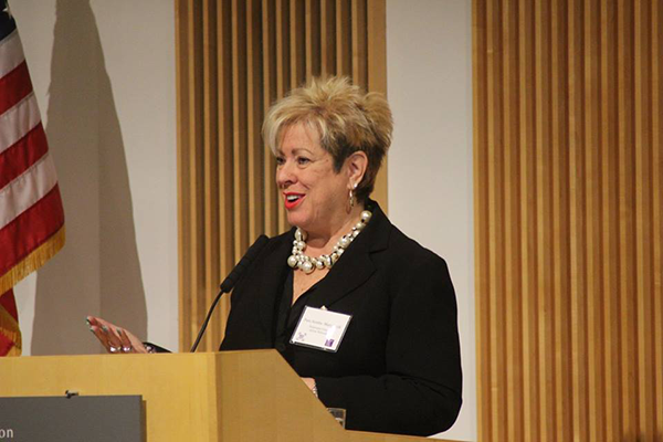 Pam Marquard speaks at an event for the Pancreatic Cancer Action Network