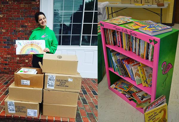 Vicki Soto book donation and bookshelf